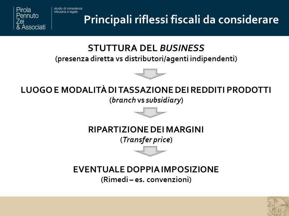 Principali riflessi fiscali da considerare STUTTURA DEL BUSINESS (presenza diretta vs distributori/agenti indipendenti) LUOGO E MODALITÀ DI TASSAZIONE