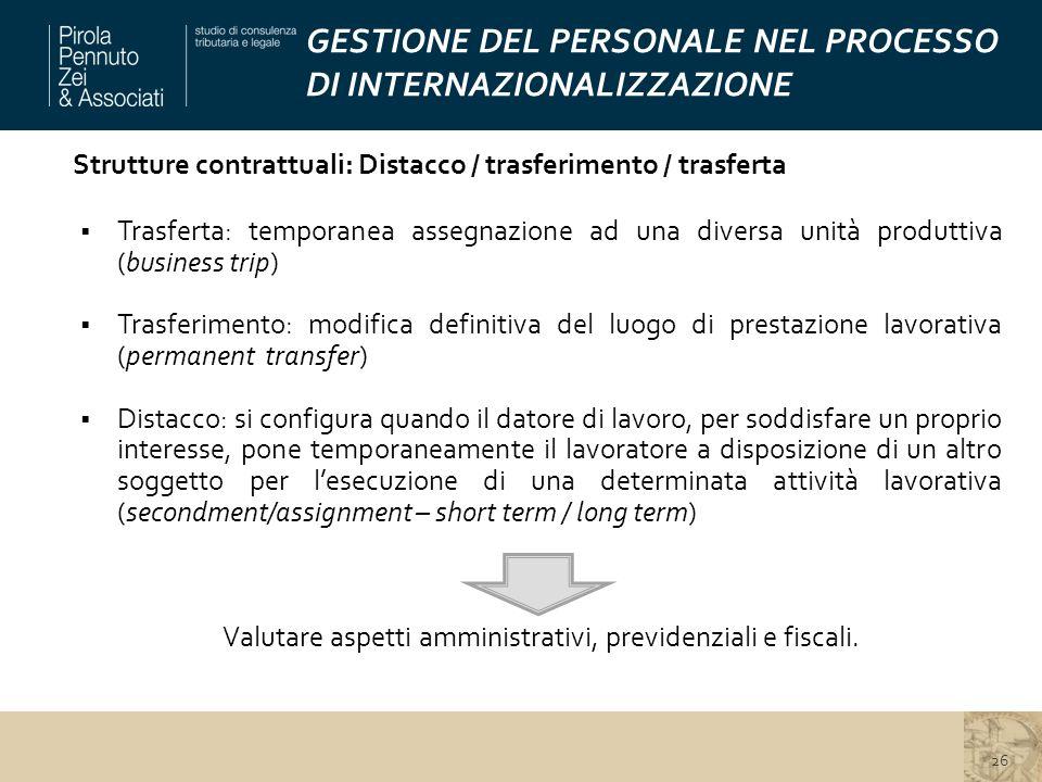 GESTIONE DEL PERSONALE NEL PROCESSO DI INTERNAZIONALIZZAZIONE Strutture contrattuali: Distacco / trasferimento / trasferta  Trasferta: temporanea ass