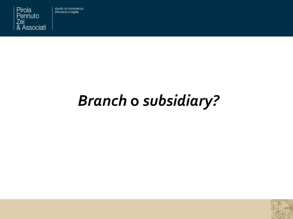 Branch o subsidiary? 4