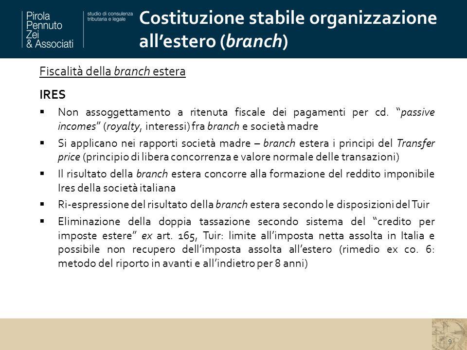 Costituzione stabile organizzazione all'estero (branch) 9 Fiscalità della branch estera IRES  Non assoggettamento a ritenuta fiscale dei pagamenti per cd.
