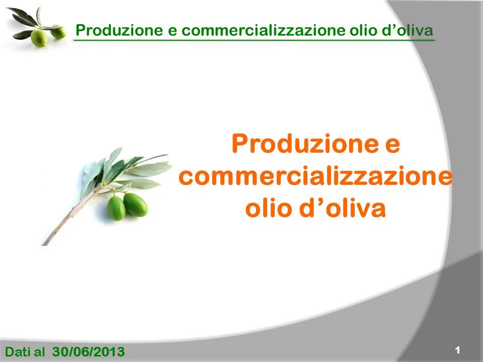 Produzione e commercializzazione olio d'oliva Dati al 30/06/2013 1 Produzione e commercializzazione olio d'oliva