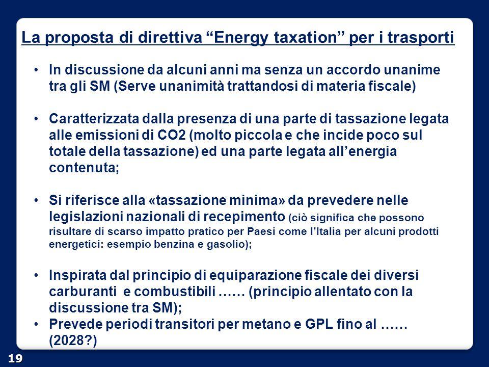 """La proposta di direttiva """"Energy taxation"""" per i trasporti 19 In discussione da alcuni anni ma senza un accordo unanime tra gli SM (Serve unanimità tr"""