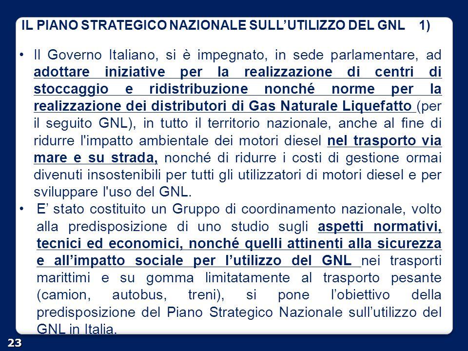 IL PIANO STRATEGICO NAZIONALE SULL'UTILIZZO DEL GNL 1) 23 Il Governo Italiano, si è impegnato, in sede parlamentare, ad adottare iniziative per la rea