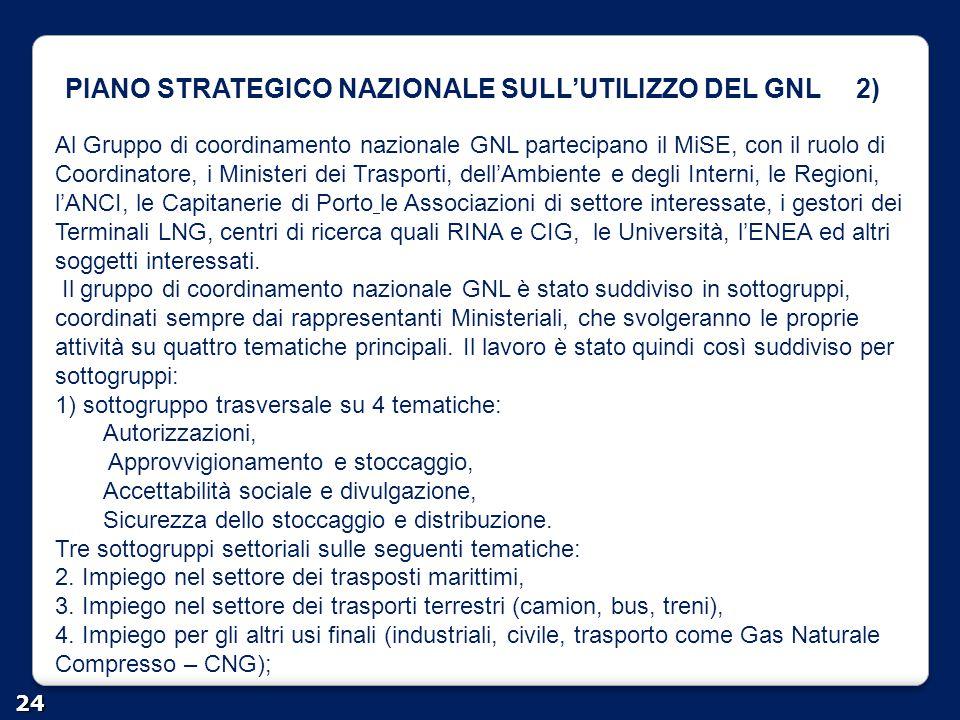 PIANO STRATEGICO NAZIONALE SULL'UTILIZZO DEL GNL 2) 24 Al Gruppo di coordinamento nazionale GNL partecipano il MiSE, con il ruolo di Coordinatore, i M