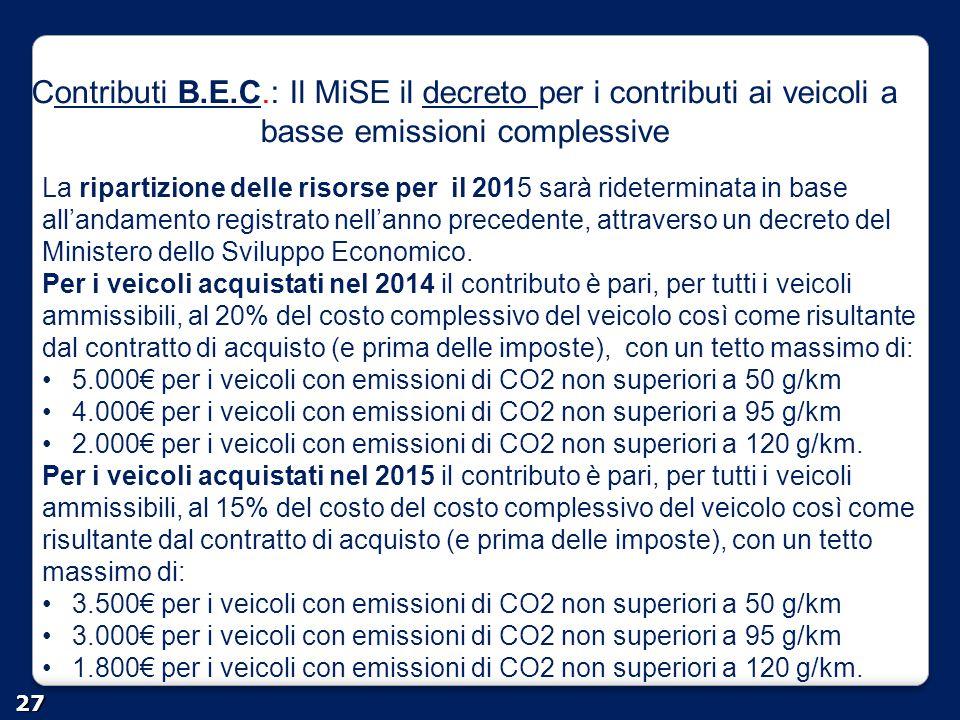 Contributi B.E.C.: Il MiSE il decreto per i contributi ai veicoli a basse emissioni complessiveontributi B.E.Cdecreto 27 La ripartizione delle risorse