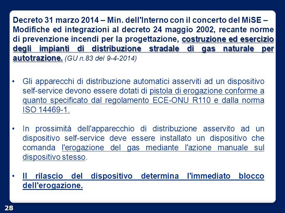Decreto 31 marzo 2014 – Min. dell'Interno con il concerto del MiSE – costruzione ed esercizio degli impianti di distribuzione stradale di gas naturale