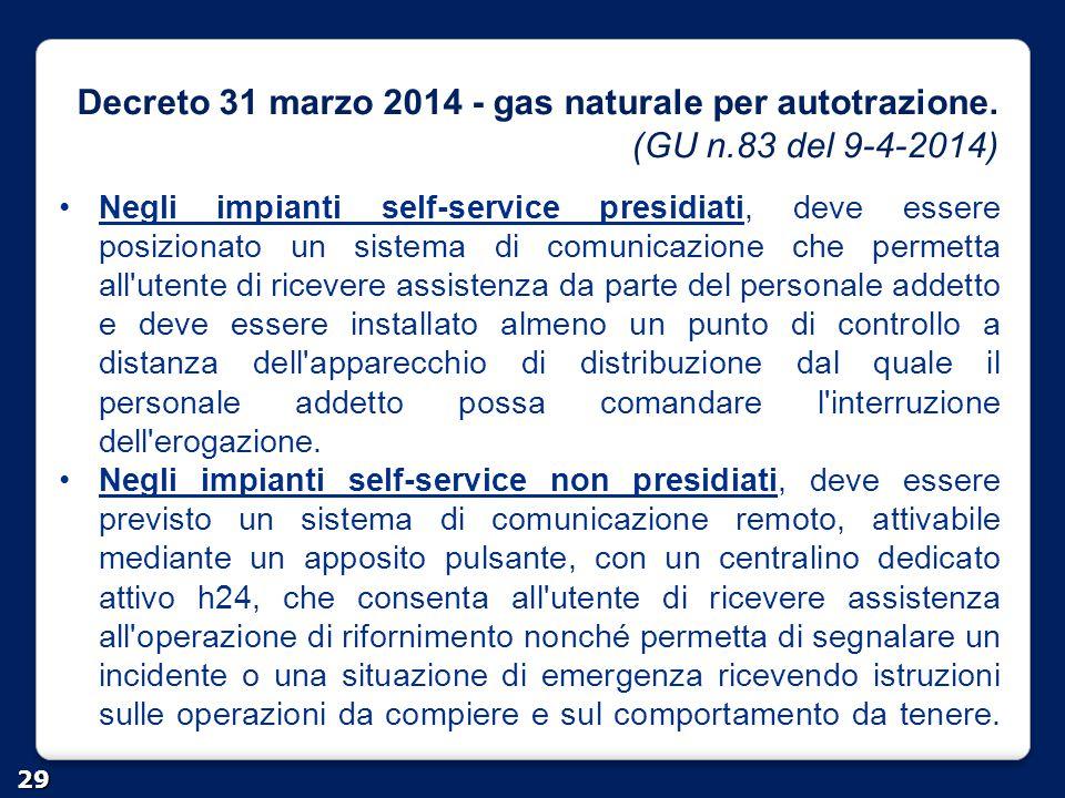 Decreto 31 marzo 2014 - gas naturale per autotrazione. (GU n.83 del 9-4-2014) 29 Negli impianti self-service presidiati, deve essere posizionato un si