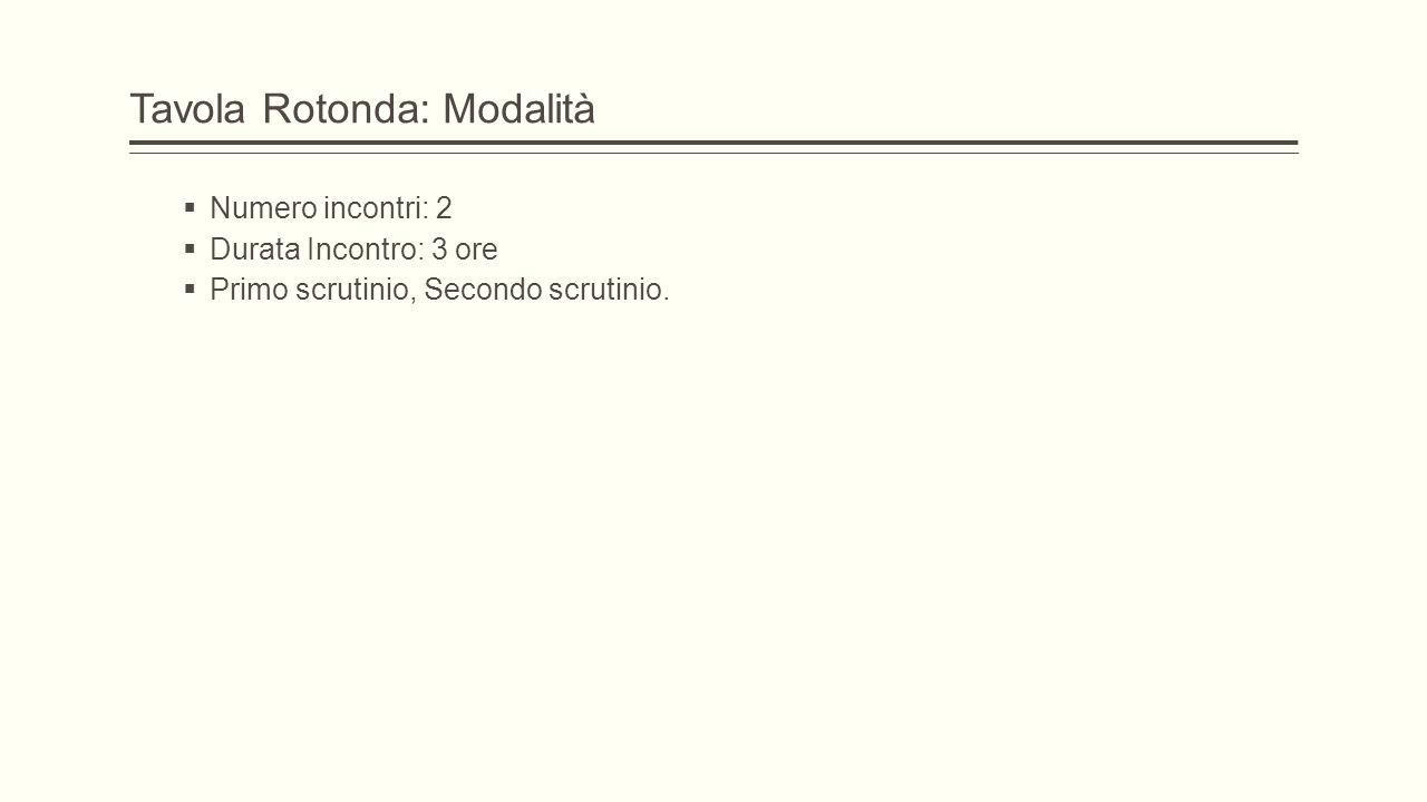 Tavola Rotonda: Modalità  Numero incontri: 2  Durata Incontro: 3 ore  Primo scrutinio, Secondo scrutinio.