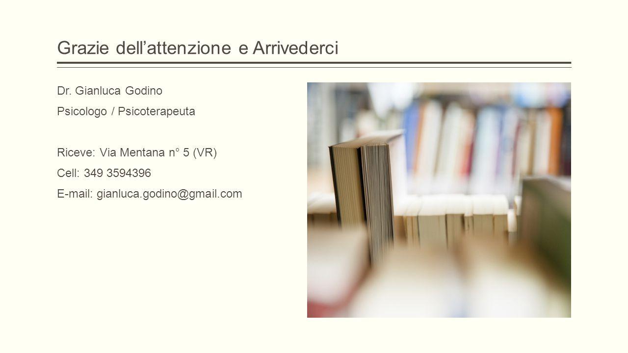 Grazie dell'attenzione e Arrivederci Dr. Gianluca Godino Psicologo / Psicoterapeuta Riceve: Via Mentana n° 5 (VR) Cell: 349 3594396 E-mail: gianluca.g