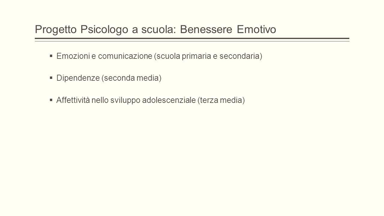 Progetto Psicologo a scuola: Benessere Emotivo  Emozioni e comunicazione (scuola primaria e secondaria)  Dipendenze (seconda media)  Affettività ne