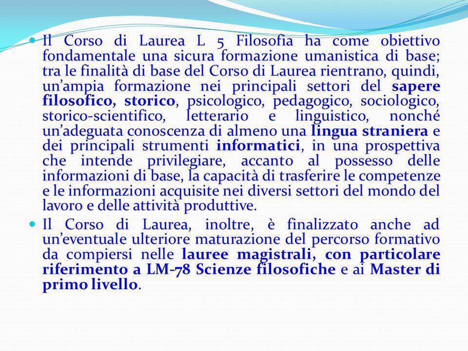 Il Corso di Laurea L 5 Filosofia ha come obiettivo fondamentale una sicura formazione umanistica di base; tra le finalità di base del Corso di Laurea