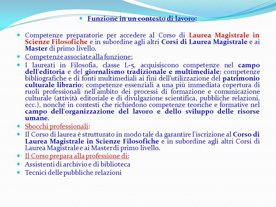 Funzione in un contesto di lavoro: Competenze preparatorie per accedere al Corso di Laurea Magistrale in Scienze Filosofiche e in subordine agli altri