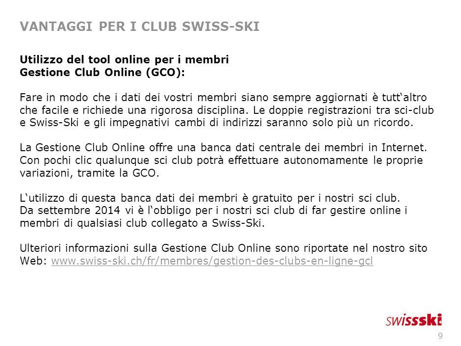 9 VANTAGGI PER I CLUB SWISS-SKI Utilizzo del tool online per i membri Gestione Club Online (GCO): Fare in modo che i dati dei vostri membri siano semp