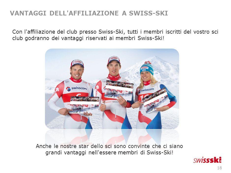 18 VANTAGGI DELL AFFILIAZIONE A SWISS-SKI Anche le nostre star dello sci sono convinte che ci siano grandi vantaggi nell essere membri di Swiss-Ski.