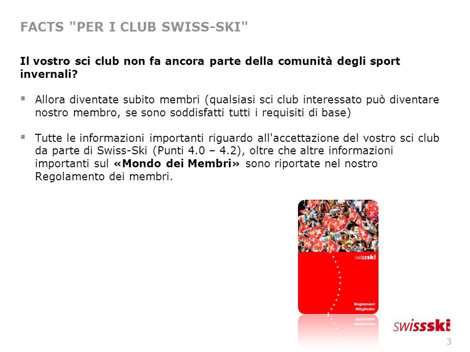 3 FACTS PER I CLUB SWISS-SKI Il vostro sci club non fa ancora parte della comunità degli sport invernali.