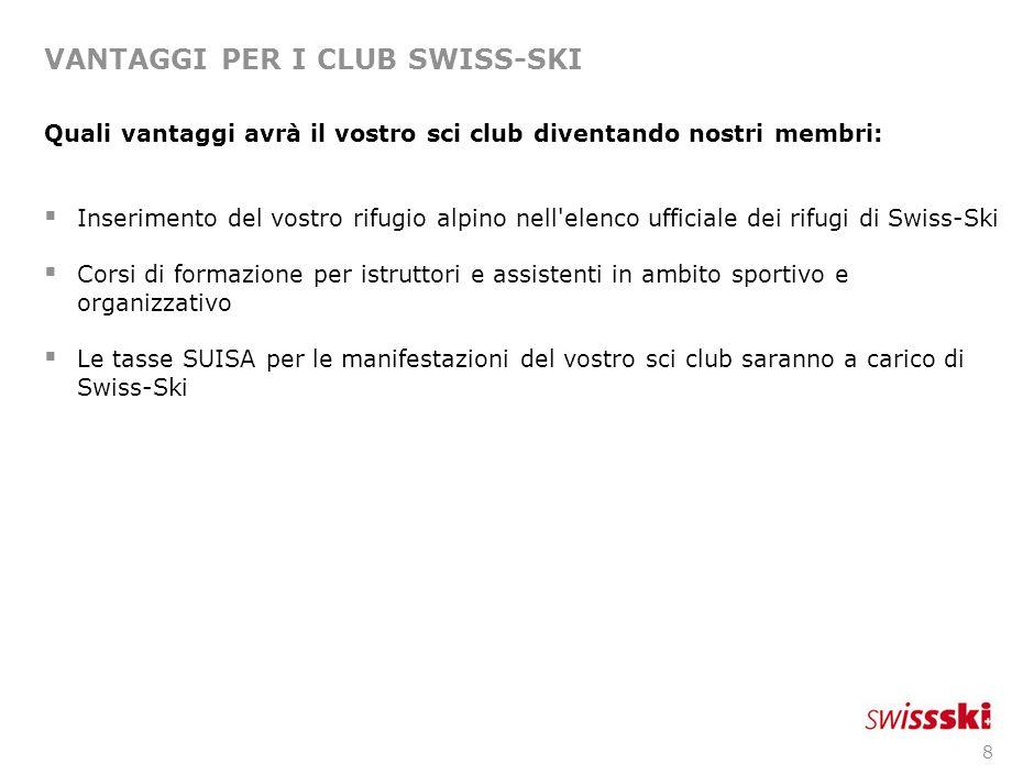 8 VANTAGGI PER I CLUB SWISS-SKI Quali vantaggi avrà il vostro sci club diventando nostri membri:  Inserimento del vostro rifugio alpino nell'elenco u