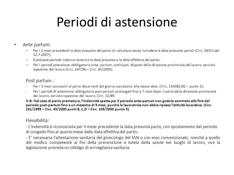 Periodi di astensione Ante partum: – Per i 2 mesi precedenti la data presunta del parto (si calcolano senza includere la data presunta parto) (Circ. 1