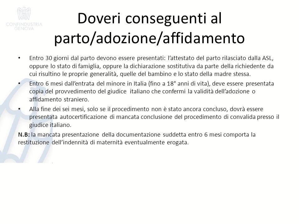 Doveri conseguenti al parto/adozione/affidamento Entro 30 giorni dal parto devono essere presentati: l'attestato del parto rilasciato dalla ASL, oppur