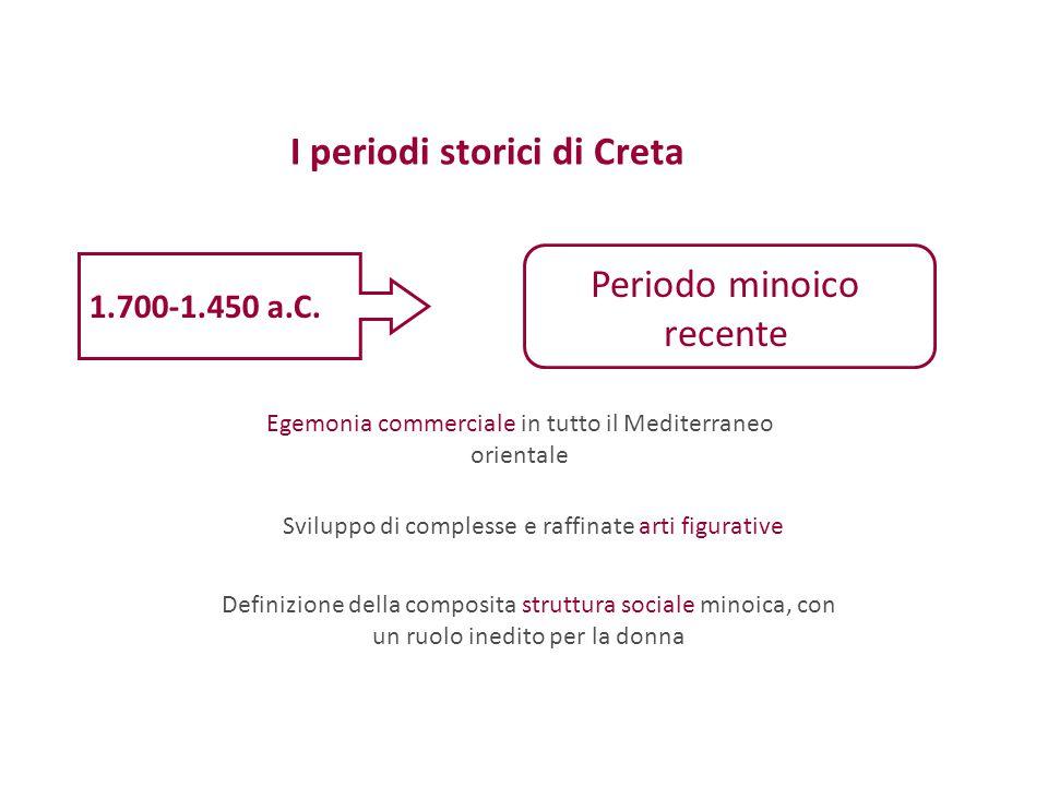 I periodi storici di Creta 1.700-1.450 a.C. Periodo minoico recente Egemonia commerciale in tutto il Mediterraneo orientale Definizione della composit