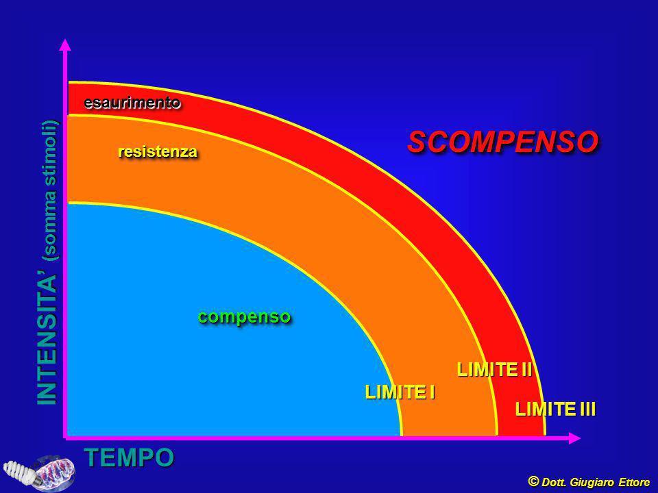 esaurimentoesaurimento resistenzaresistenza SCOMPENSOSCOMPENSO LIMITE Il compensocompenso LIMITE I LIMITE Ill INTENSITA' (somma stimoli) TEMPO © Dott.