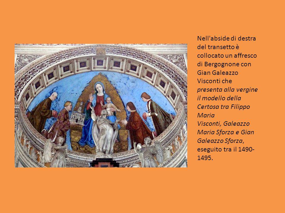 Nell'abside di destra del transetto è collocato un affresco di Bergognone con Gian Galeazzo Visconti che presenta alla vergine il modello della Certos