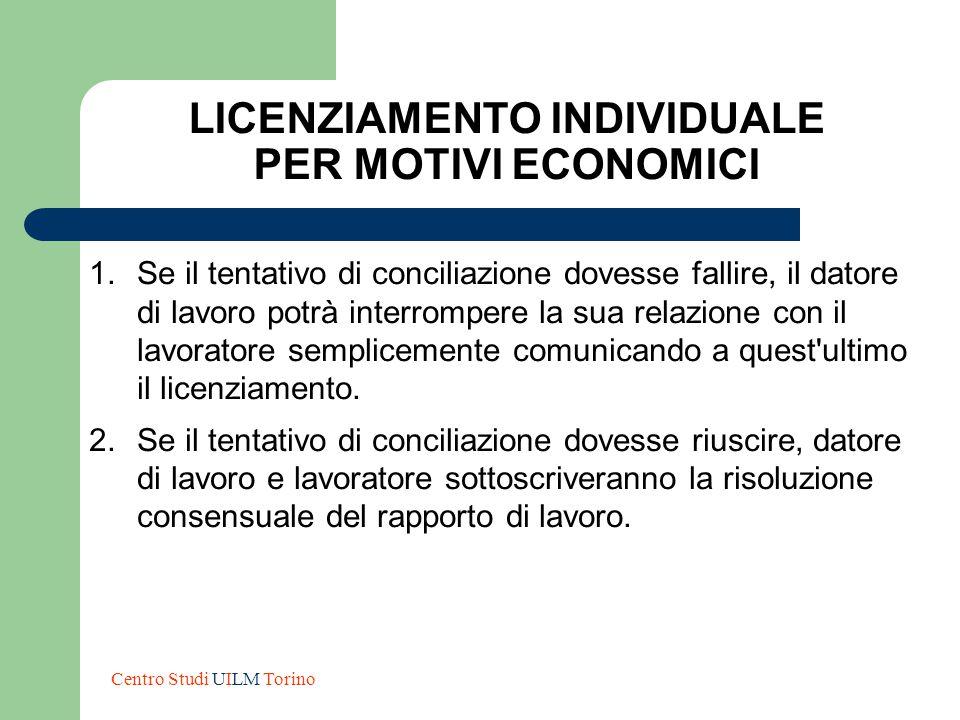 LICENZIAMENTO INDIVIDUALE PER MOTIVI ECONOMICI 1.Se il tentativo di conciliazione dovesse fallire, il datore di lavoro potrà interrompere la sua relaz