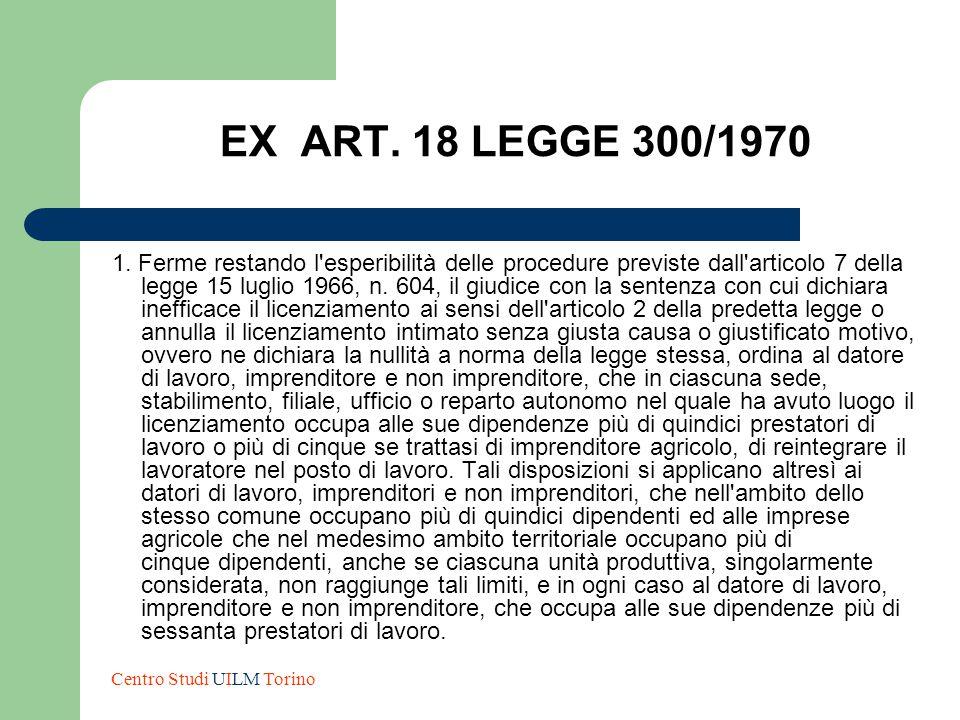EX ART. 18 LEGGE 300/1970 1. Ferme restando l'esperibilità delle procedure previste dall'articolo 7 della legge 15 luglio 1966, n. 604, il giudice con