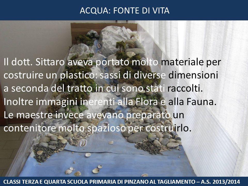 Il dott. Sittaro aveva portato molto materiale per costruire un plastico: sassi di diverse dimensioni a seconda del tratto in cui sono stati raccolti.