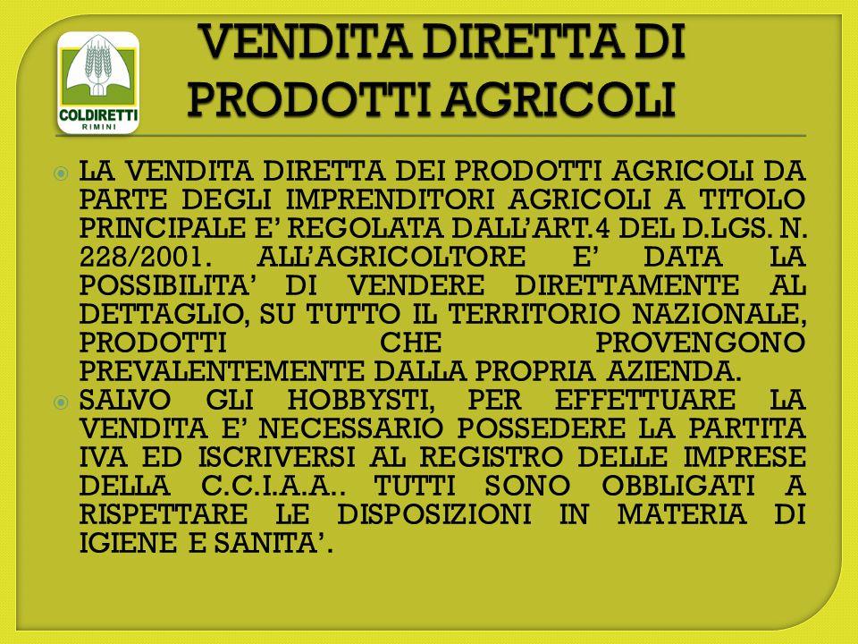  LA VENDITA DIRETTA DEI PRODOTTI AGRICOLI DA PARTE DEGLI IMPRENDITORI AGRICOLI A TITOLO PRINCIPALE E' REGOLATA DALL'ART.4 DEL D.LGS.