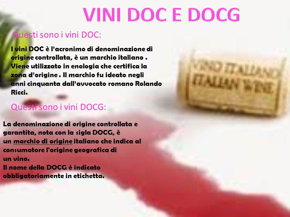 I vini DOC è l'acronimo di denominazione di origine controllata, è un marchio italiano.