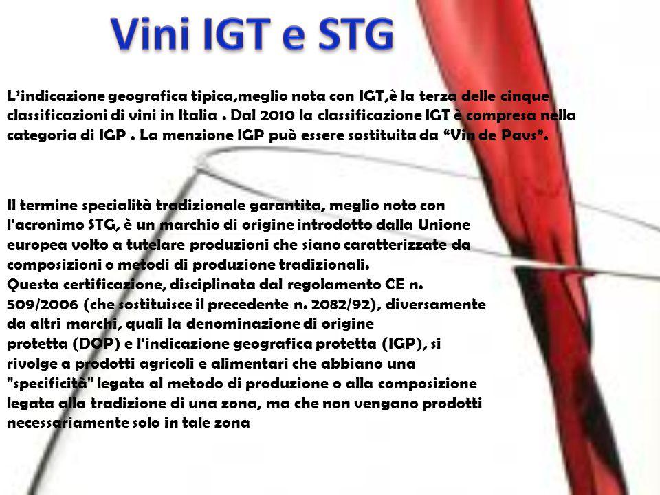 L'indicazione geografica tipica,meglio nota con IGT,è la terza delle cinque classificazioni di vini in Italia. Dal 2010 la classificazione IGT è compr