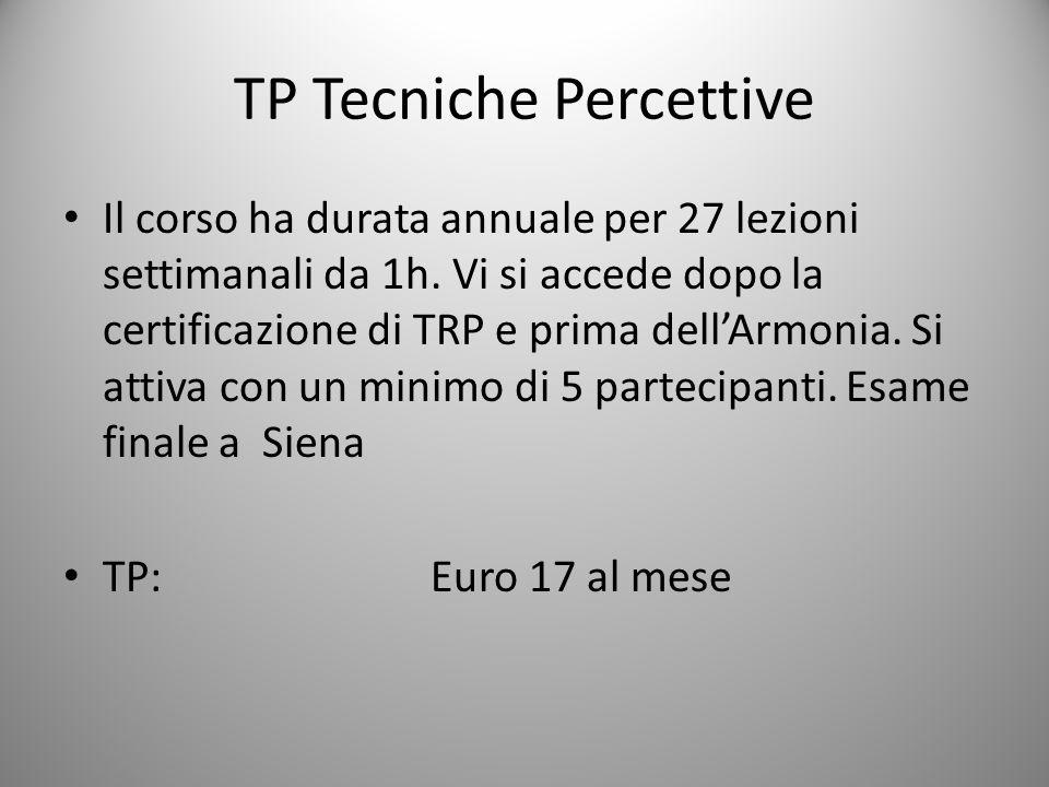 TP Tecniche Percettive Il corso ha durata annuale per 27 lezioni settimanali da 1h.