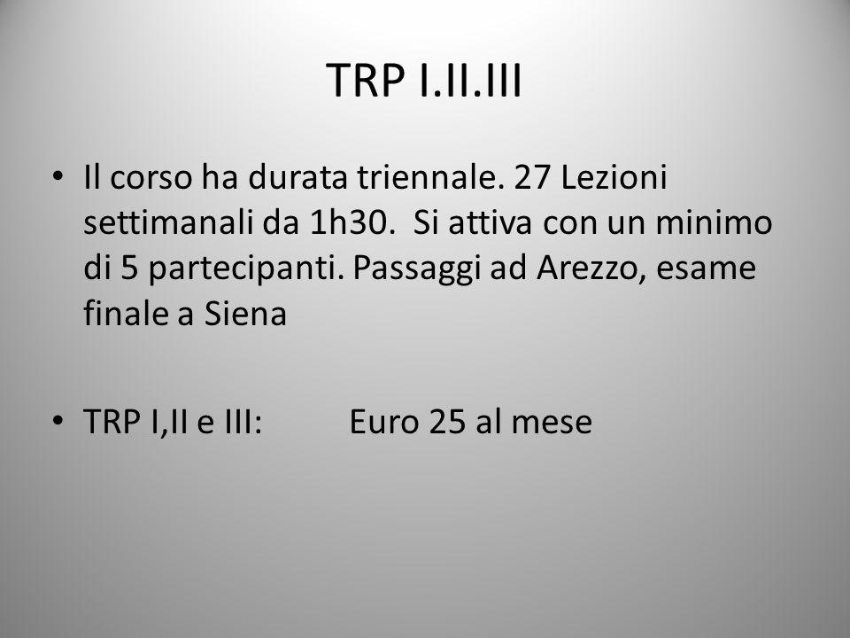 TRP I.II.III Il corso ha durata triennale.27 Lezioni settimanali da 1h30.