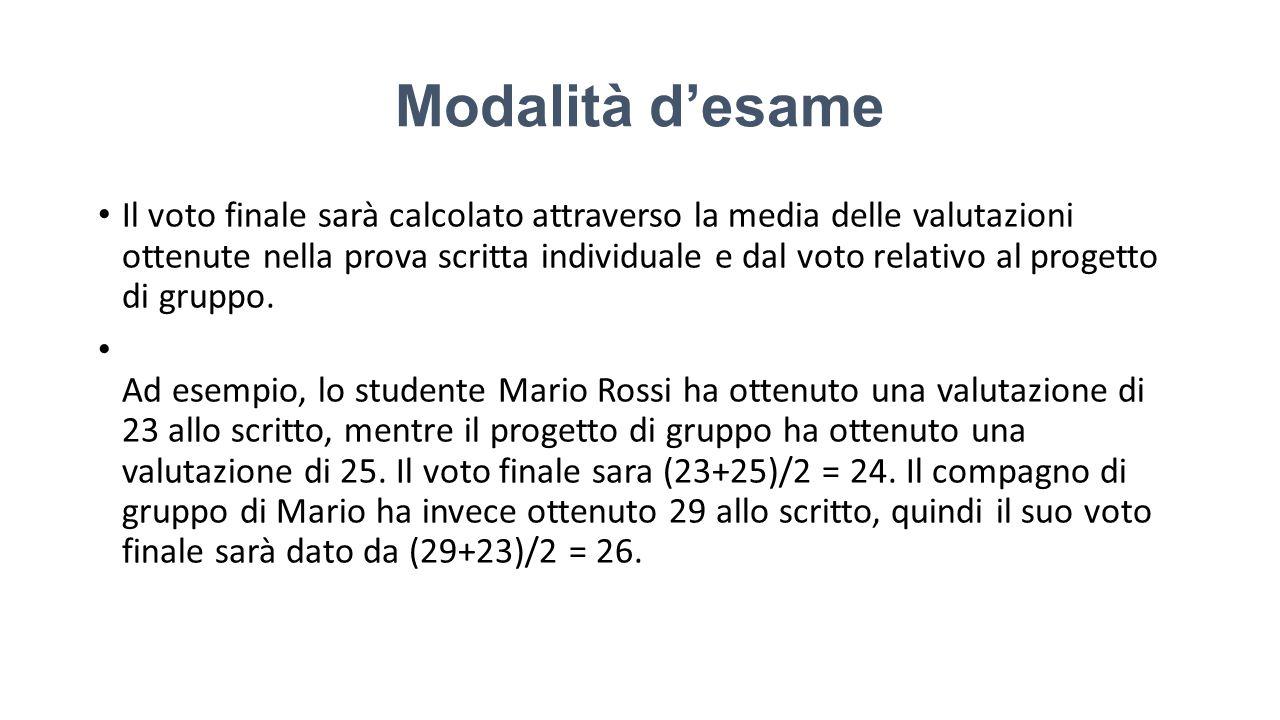 Modalità d'esame Il voto finale sarà calcolato attraverso la media delle valutazioni ottenute nella prova scritta individuale e dal voto relativo al progetto di gruppo.