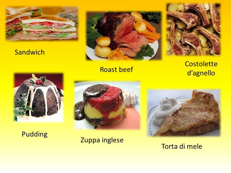 Roast beef Costolette d'agnello Sandwich Pudding Zuppa inglese Torta di mele