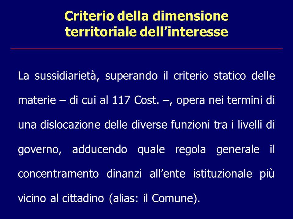 Criterio della dimensione territoriale dell'interesse La sussidiarietà, superando il criterio statico delle materie – di cui al 117 Cost.