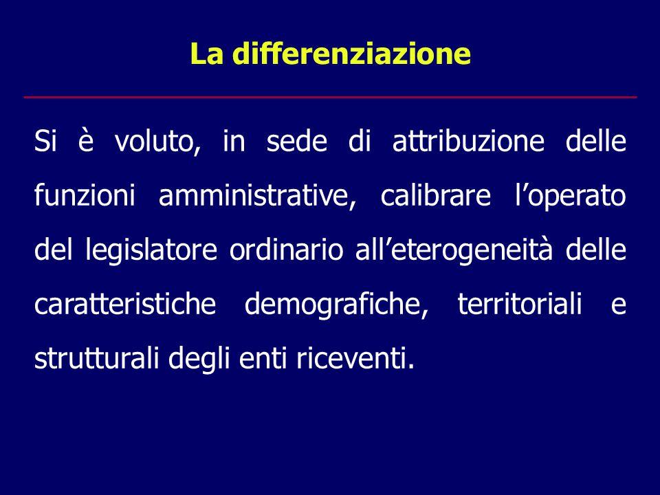 La differenziazione Si è voluto, in sede di attribuzione delle funzioni amministrative, calibrare l'operato del legislatore ordinario all'eterogeneità delle caratteristiche demografiche, territoriali e strutturali degli enti riceventi.