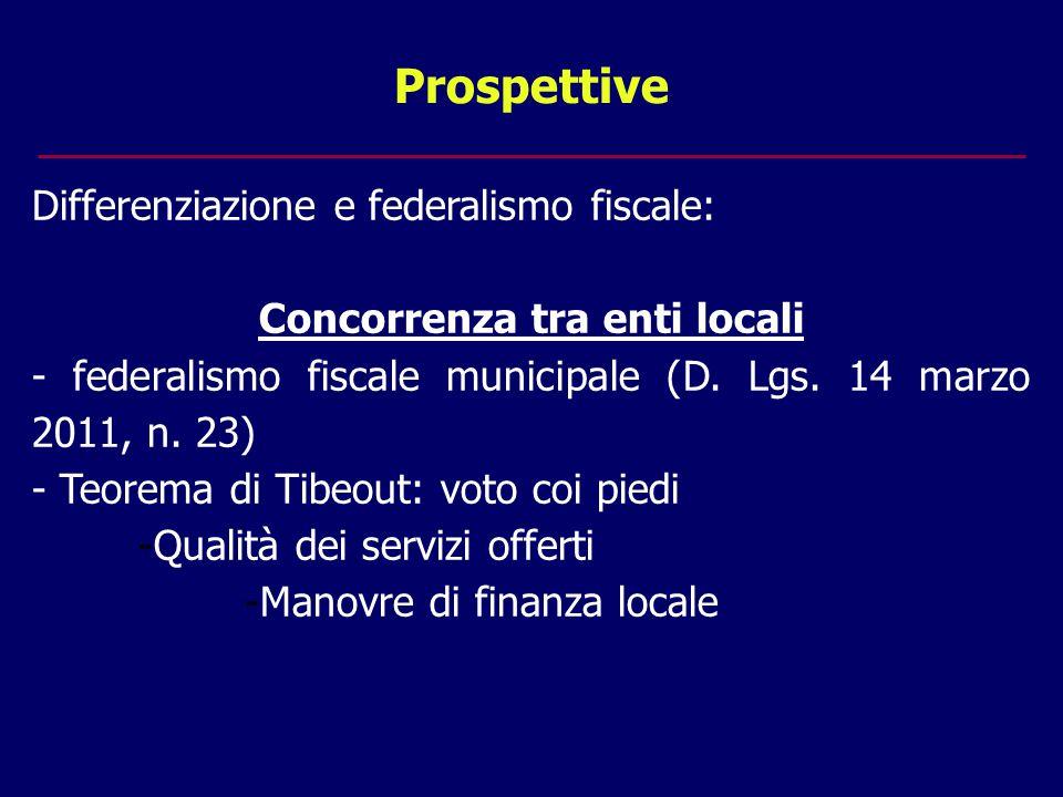 Prospettive Differenziazione e federalismo fiscale: Concorrenza tra enti locali - federalismo fiscale municipale (D.