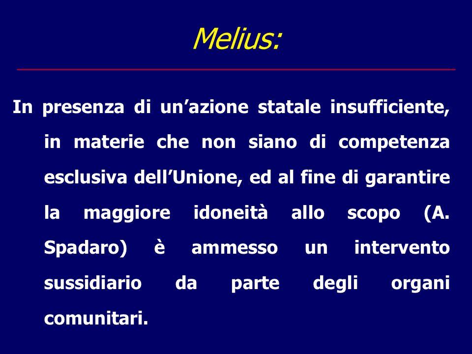 Melius: In presenza di un'azione statale insufficiente, in materie che non siano di competenza esclusiva dell'Unione, ed al fine di garantire la maggiore idoneità allo scopo (A.