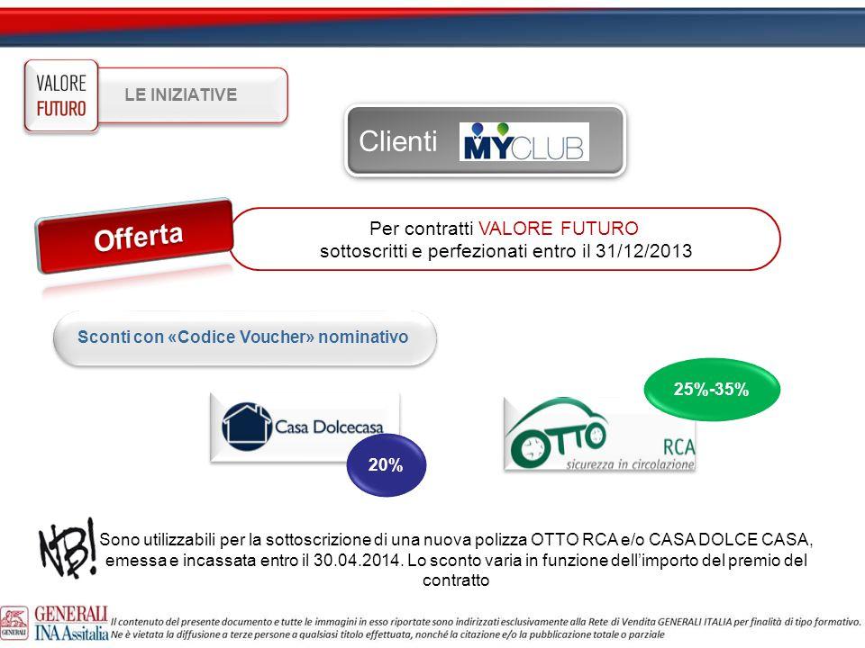 Per contratti VALORE FUTURO sottoscritti e perfezionati entro il 31/12/2013 Sconti con «Codice Voucher» nominativo LE INIZIATIVE Clienti 20% 25%-35% S