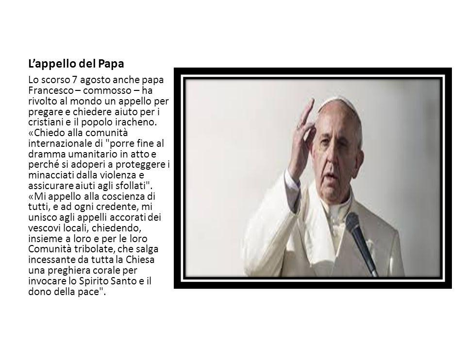 L'appello del Papa Lo scorso 7 agosto anche papa Francesco – commosso – ha rivolto al mondo un appello per pregare e chiedere aiuto per i cristiani e
