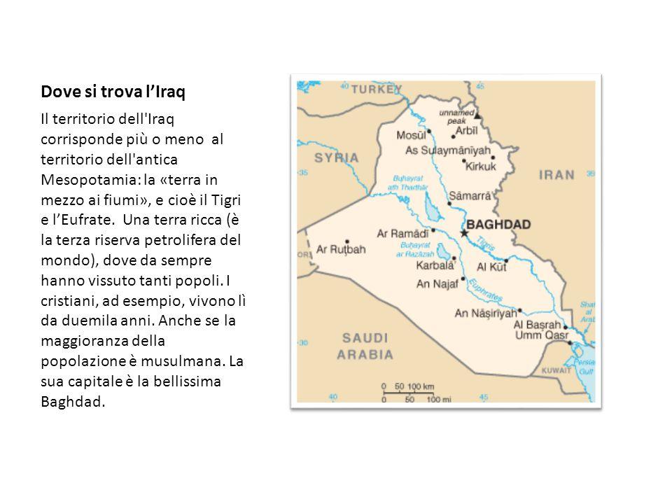 Dove si trova l'Iraq Il territorio dell'Iraq corrisponde più o meno al territorio dell'antica Mesopotamia: la «terra in mezzo ai fiumi», e cioè il Tig