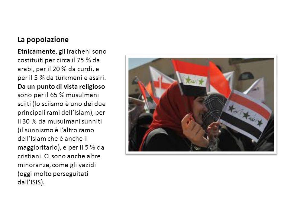 La popolazione Etnicamente, gli iracheni sono costituiti per circa il 75 % da arabi, per il 20 % da curdi, e per il 5 % da turkmeni e assiri. Da un pu