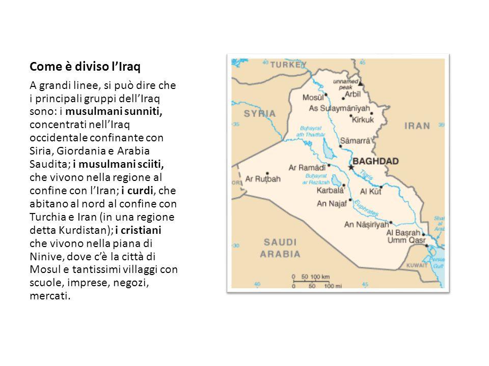 Come è diviso l'Iraq A grandi linee, si può dire che i principali gruppi dell'Iraq sono: i musulmani sunniti, concentrati nell'Iraq occidentale confin