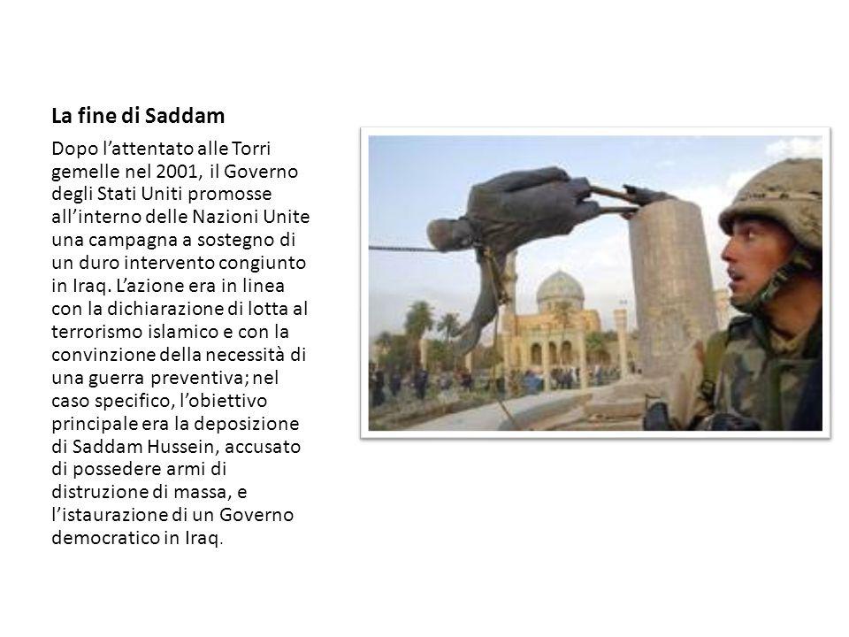 L'Iraq dopo Saddam Dalla caduta di Saddam, dall'intervento militare degli Stati Uniti iniziato nel 2003 e terminato nel 2011, e dal conseguente indebolimento dei sunniti, gli sciiti sono diventati il gruppo dominante nella società irachena; ma il nuovo Governo – guidato dal 2006 dal primo ministro sciita Nuri al Maliki – non è riuscito a stabilizzare e a fermare le violenze settarie nel paese.