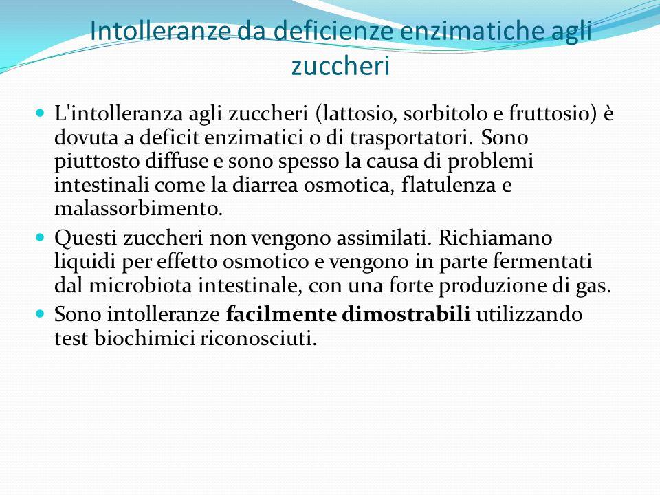 Intolleranze da deficienze enzimatiche agli zuccheri L'intolleranza agli zuccheri (lattosio, sorbitolo e fruttosio) è dovuta a deficit enzimatici o di