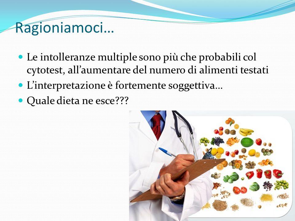 Ragioniamoci… Le intolleranze multiple sono più che probabili col cytotest, all'aumentare del numero di alimenti testati L'interpretazione è fortement