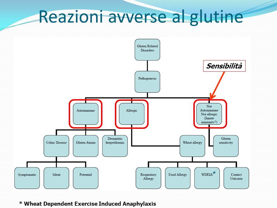 Reazioni avverse al glutine Sensibilità * Wheat Dependent Exercise Induced Anaphylaxis *