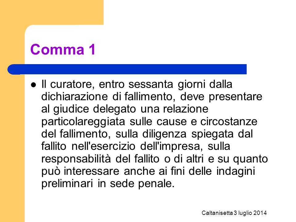 Caltanisetta 3 luglio 2014 Comma 1 Il curatore, entro sessanta giorni dalla dichiarazione di fallimento, deve presentare al giudice delegato una relaz