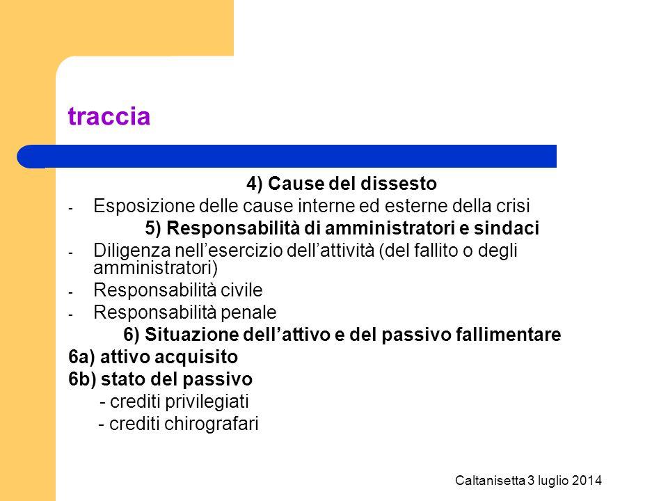 Caltanisetta 3 luglio 2014 traccia 4) Cause del dissesto - Esposizione delle cause interne ed esterne della crisi 5) Responsabilità di amministratori